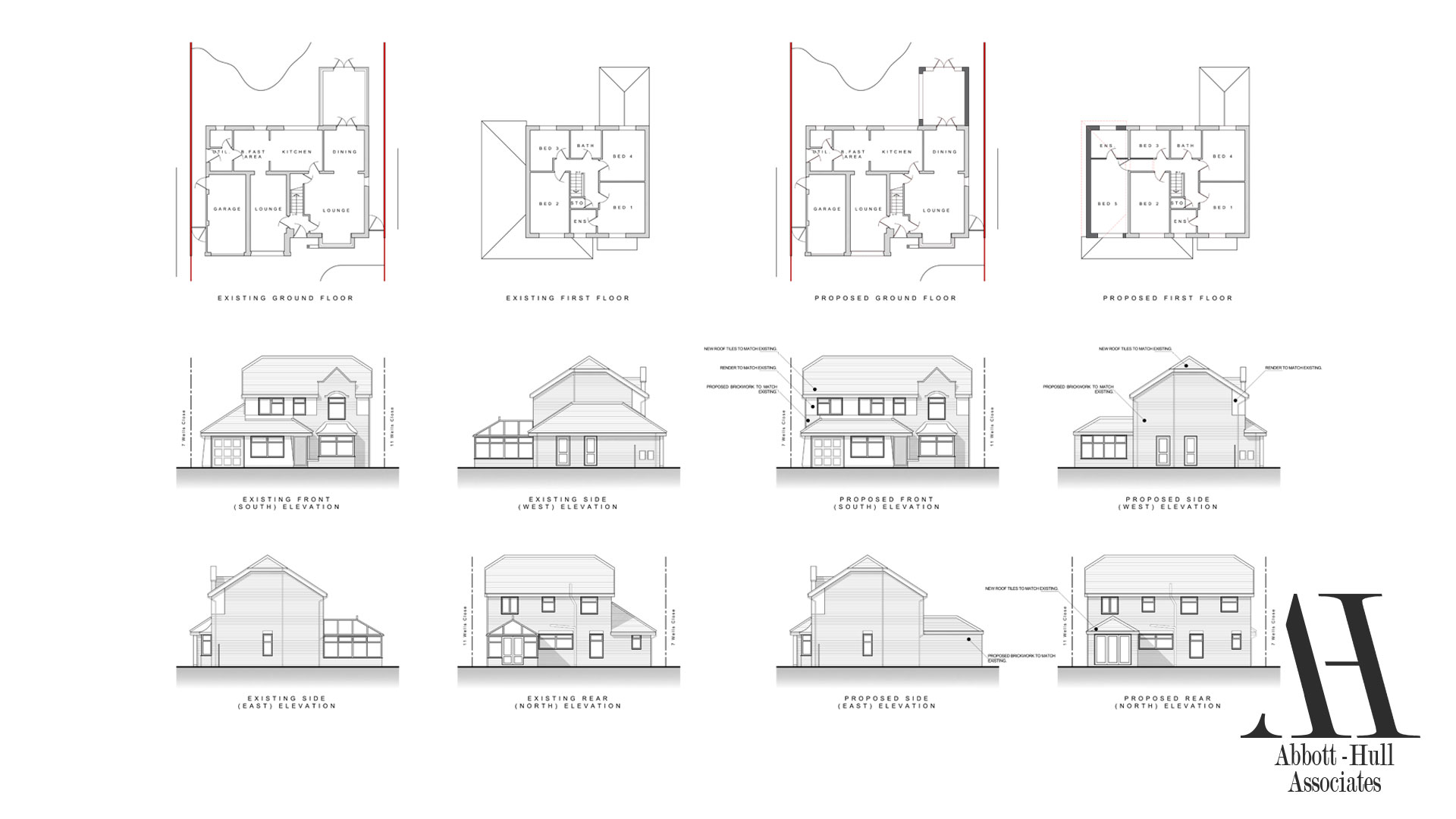 Wells Close, Thornton-Cleveleys - Existing and Proposed Plans and Elevations